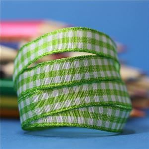 10mm Gingham Ribbon - Lime