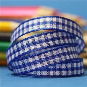 10mm Gingham Ribbon - Royal