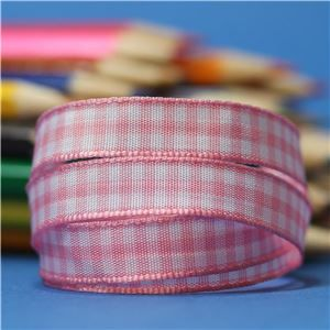 10mm Gingham Ribbon - Rose