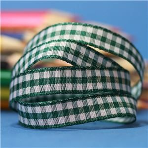 10mm Gingham Ribbon - Forest