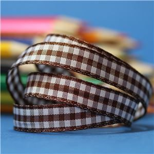 10mm Gingham Ribbon - Brown