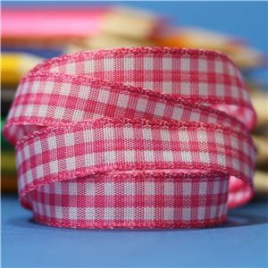 10mm Gingham Ribbon - Shocking