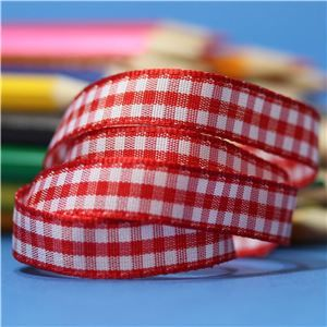10mm Gingham Ribbon - Red
