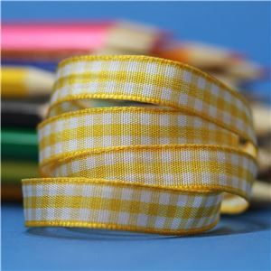 10mm Gingham Ribbon - Gold