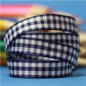 10mm Gingham Ribbon - Navy
