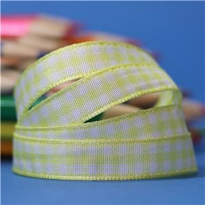10mm Gingham Ribbon- Lemon