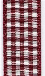 15mm Gingham Ribbon - Burgundy