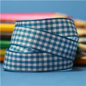 15mm Gingham Ribbon - Vivid Blue/White