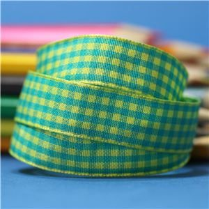 15mm Gingham Ribbon - Baby Maize/Jade