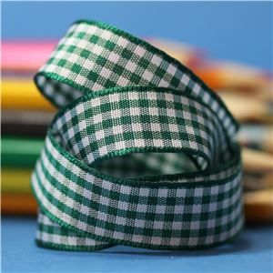 15mm Gingham Ribbon - Forest