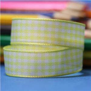 15mm Gingham Ribbon - Lemon