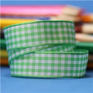15mm Gingham Ribbon - Lime