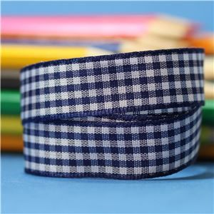 15mm Gingham Ribbon - Navy