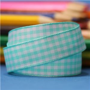 15mm Gingham Ribbon - Ocean Blue/White