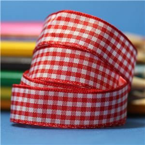 15mm Gingham Ribbon - Red
