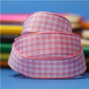 15mm Gingham Ribbon - Rose