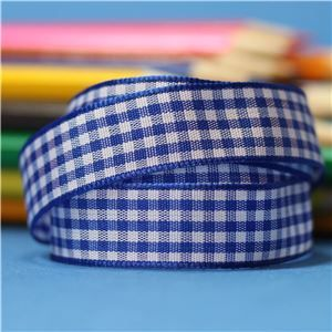 15mm Gingham Ribbon - Royal