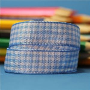15mm Gingham Ribbon - Sky