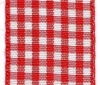 25mm Gingham Ribbon - Red