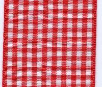 40mm Gingham Ribbon - Red