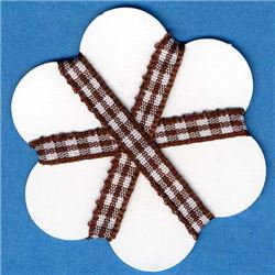 5mm Gingham Ribbon - Brown/White