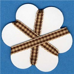 5mm Gingham Ribbon - Tan/Sepia