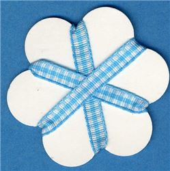 5mm Gingham Ribbon - Turquoise/White