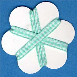 5mm Gingham Ribbon - Aqua/White