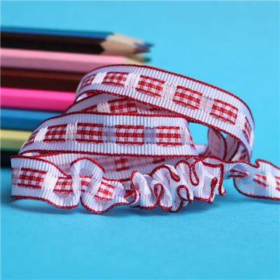 12mm Gingham Ruffle Ribbon - Red