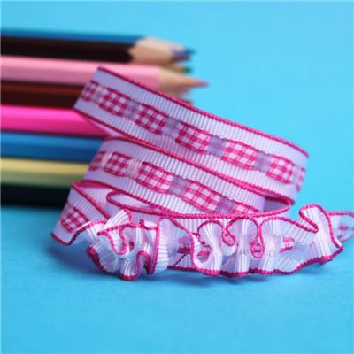 12mm Gingham Ruffle Ribbon - Shocking Pink