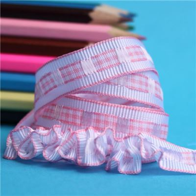 12mm Gingham Ruffle Ribbon - Pink