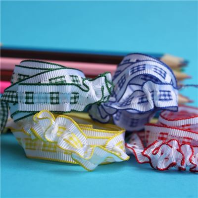 12mm Gingham Ruffle Ribbon - WANT IT ALL