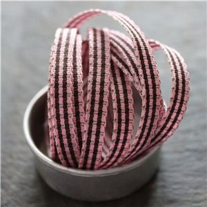 Mini Check Ribbon - Pink/Brown