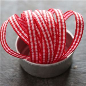 Mini Check Ribbon - Red