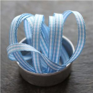 Mini Check Ribbon - Sky