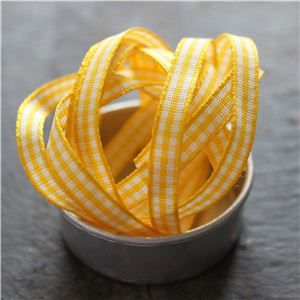 Mini Check Ribbon - Yellow
