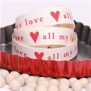 All my love Ribbon - Cream/Red