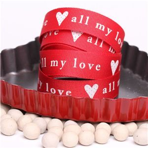 All my love Ribbon - Red/Cream