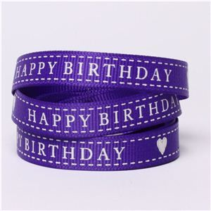 Happy Birthday Ribbon - Purple