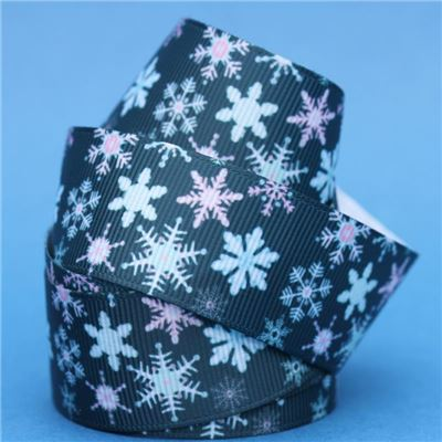 Frozen Ribbon - Teal Snowflakes