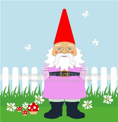 Gnome Digi - Pink Gnome and Fence