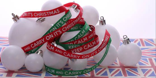 keep calm and carry on it's christmas ribbon