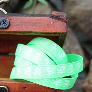 Pirate Ribbon -Narrow Skull & CB/Lime