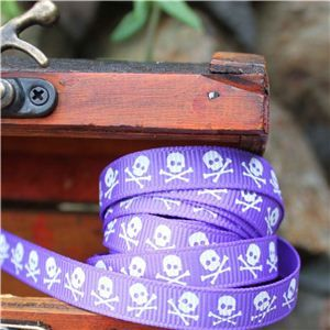 Pirate Ribbon -Narrow Skull & CB/Purple