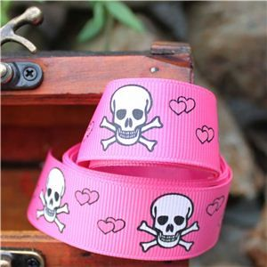 Pirate Ribbon - Skull & Cross Bones Hearts/Shocking