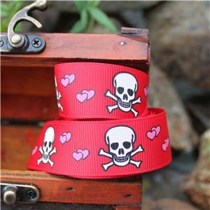Pirate Ribbon - Skull & Cross Bones Hearts/Red