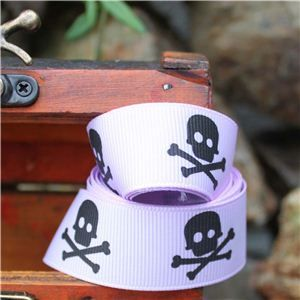 Pirate Ribbon - Skull & Cross Bones/Lilac