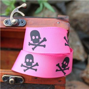 Pirate Ribbon - Skull & Cross Bones/Shocking