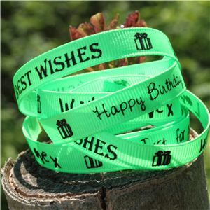 Sentiment Birthday Ribbon - Acid Green