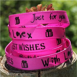 Sentiment Birthday Ribbon - Hot pink